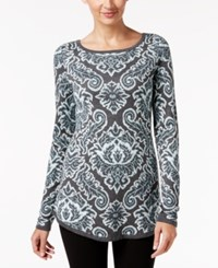 Charter Club Petite Paisley Sweater Only At Macy's Dusted Aqua Combo