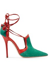 Malone Souliers Haji Calf Hair And Leather Pumps Green