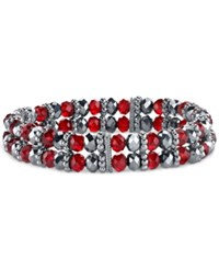 2028 Silver Tone Red Beaded Stretch Bracelet