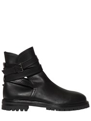 Valentino Belted Leather Ankle Boots