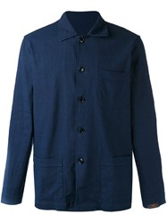 Massimo Piombo Mp Shirt Jacket Men Cotton Linen Flax Spandex Elastane S Blue