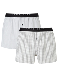 Boss Logo Boss Woven Check And Stripe Boxers Pack Of 2 Grey
