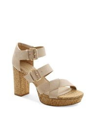 Nanette Lepore Vivienne Faux Leather Platform Sandals Beige