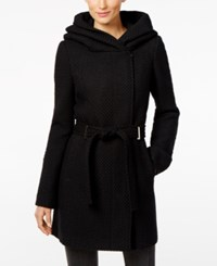Calvin Klein Petite Asymmetrical Wool Blend Walker Coat Black