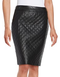Karl Lagerfeld Quilted Faux Leather Pencil Skirt Noir
