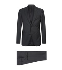 Zegna Wool Mohair Two Piece Suit Navy