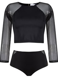 Brigitte Cropped Top And Hot Pants Set Black