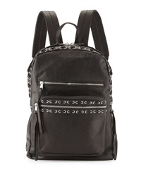 Ash Billy Leather Backpack W Laces Black