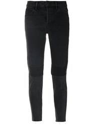 Helmut Lang Patchwork Cropped Jeans Cotton Polyester Black