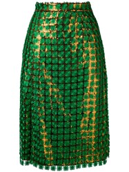 Marco De Vincenzo Sequin Skirt Women Polyester 44 Green