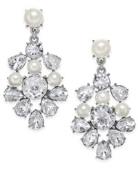 Charter Club Silver Tone Imitation Pearl And Crystal Chandelier Earrings Only At Macy's