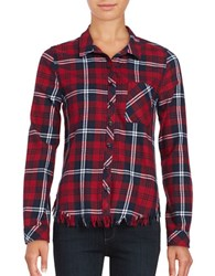 Beach Lunch Lounge Elyse Plaid Long Sleeve Button Front Shirt Black Red White