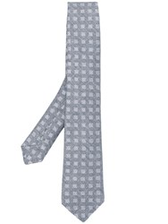Kiton Square Patterned Tie Grey