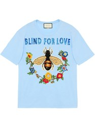 Gucci Cotton T Shirt With Embroideries Women Cotton S Blue