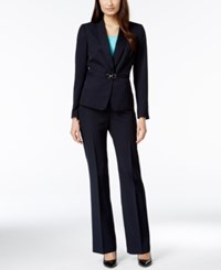 Tahari By Arthur S. Levine Tahari Asl Pinstripe D Ring Pantsuit Navy Light Blue