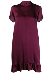 Semicouture Ruffled Shift Dress Purple