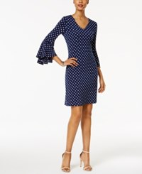 Msk Polka Dot Bell Sleeve Sheath Dress Navy White