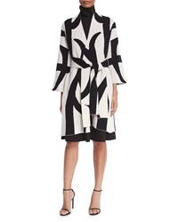Josie Natori Two Tone 3 4 Sleeve Belted Topper Coat Black White