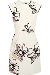 Roland Mouret Floral Print Cloque Mini Dress White