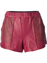 A.L.C. Perforated Panel Leather Shorts Pink And Purple
