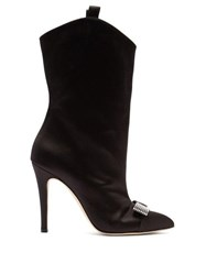 Alessandra Rich Crystal Bow Embellished Western Satin Ankle Boots Black