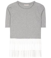 Marni Ruffled Cotton T Shirt Grey
