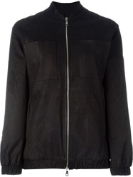 Giorgio Brato Leather Bomber Jacket Black