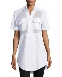 Risto Diomede Netted Poplin Long Blouse White