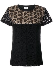 Liu Jo Leopard Sequin T Shirt Black