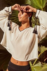 Urban Outfitters Uo Wild Horses Tassel Blouse Cream