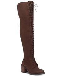 Lucky Brand Women's Riddick Lace Up Over The Knee Boots Women's Shoes Java