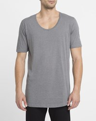 Iriedaily Light Grey Long Low Round Neck T Shirt Black