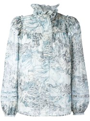 Marc Jacobs Ruffle Collar Blouse Blue