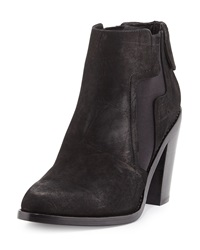 L.A.M.B. Mojo Crocodile Embossed Leather Bootie Black