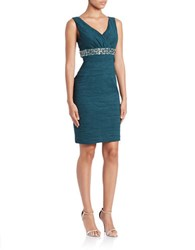 Eliza J Ruched V Neck Sheath Dress Green