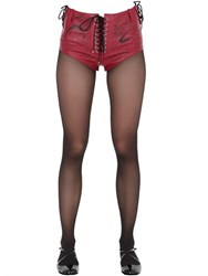 Claire Barrow Printed Lace Up Nappa Leather Shorts