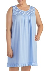 Eileen West Plus Size Daisy Jersey Chemise Heather Blue