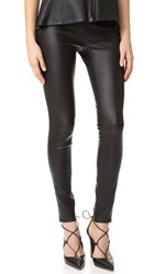 Veronica Beard Palladium Leather Leggings Black