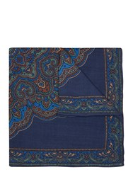 Mr. Start Silk Pocket Square In Bandana Print Navy Blue