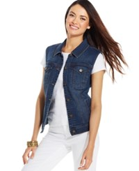 Styleandco. Style And Co. Petite Mosaic Wash Denim Vest Only At Macy's