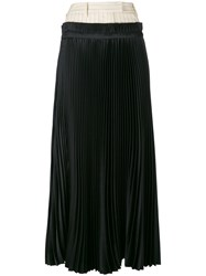 Off White Long Pleated Skirt Women Polyester Viscose Wool S Black