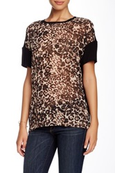 Cj By Cookie Johnson Print Front Short Sleeve Tee Brown