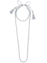 Night Market Pearl Layered Necklace Pearls Brass Grey