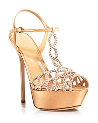 Sergio Rossi Platform Sandals Vague Crystal High Heel Nude