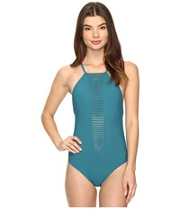 Red Carter Splice Dice Strappy Plunge Tank Mio One Piece Lagoon Women's Swimsuits One Piece Blue