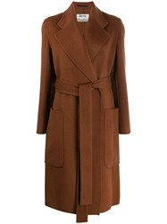 Acne Studios Belted Midi Coat Brown