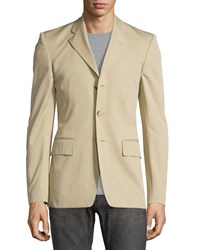 Red Valentino Three Button Slim Fit Blazer Khaki Men's