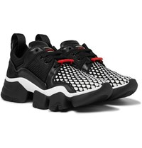 Givenchy Jaw Printed Neoprene Suede Leather And Mesh Sneakers Black
