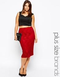 Club L Plus Size Lace Pencil Skirt Berry