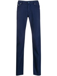 Jacob Cohen Pinstripe Trousers Blue
